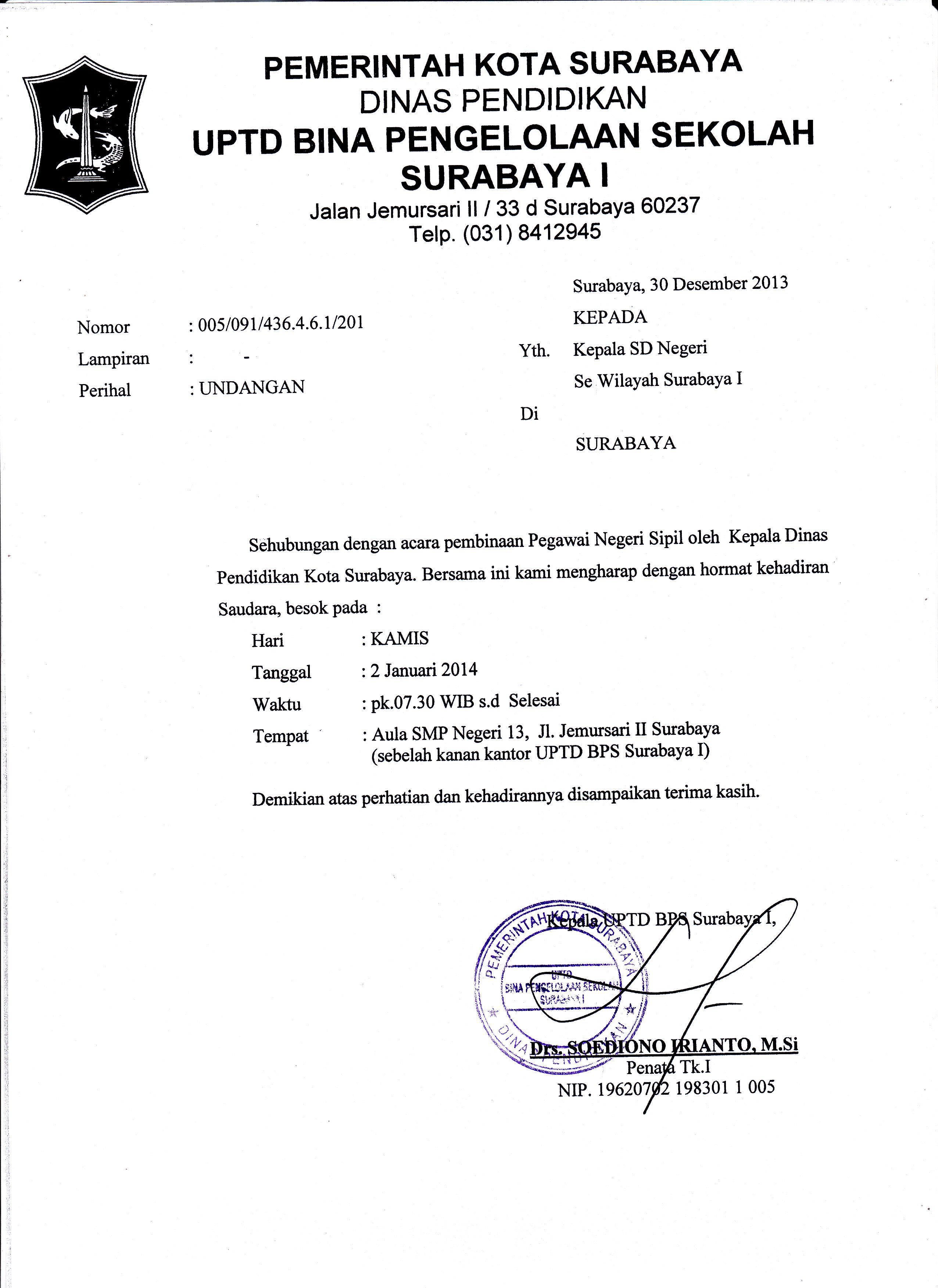 Undangan Pembinaan Uptd Bps Surabaya 1